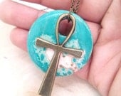 Brass pendant necklace-Turquoise and ankh necklace-  pendant necklace