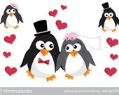 Penguin Bride and Bridegroom Digital Clip Art  - with accessories