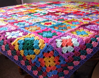 Crochet Blanket Distinctive Granny Squares Afghan Bright Vivid Colors