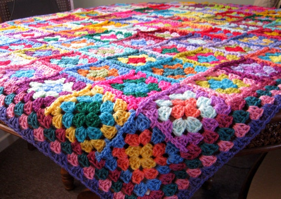 FLASH SALE 25% off Crochet Blanket Distinctive Granny Squares Afghan Bright Vivid Colors