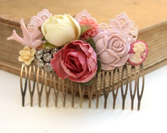 Wedding Hair Comb Vintage Wedding Hair Comb Wedding Collage Hair Comb, Maid Of Honor, Bridesmaids Gifts Something Old