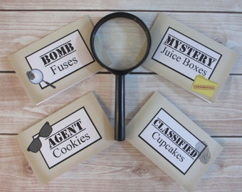 Spy Party Custom Tent Place Cards - Secret Agent Collection