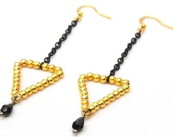 Unique Geometric Jewelry. Arrow Earrings. Triangle Earrings. Black and Gold Earrings. Long Chain Earrings.  Modern Minimalist