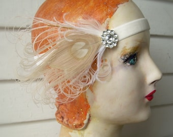 1920's headband, flapper headband- made to order- ivory with bird friendly feathers and vintage style rhinestone button