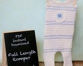 PDF Instant Download Upcycled Boy or Girl Newborn Pattern (Full Length Romper with Pocket)