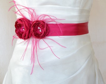 Handcraft Fuchsia Two Flowers With Feathers Wedding Bridal Sash Belt