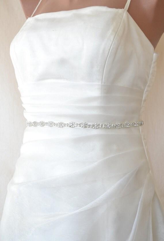 Elegant Slim Rhinestone  Beaded Wedding Dress Sash Belt