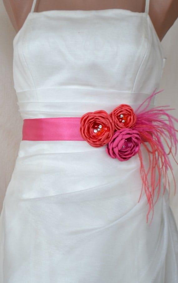 EXPRESS SHİPPİNG! Handcraft Coral and Hot Pink Flower Wedding Dress  Bridal Sash Belt