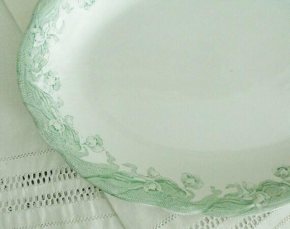 Antique English Green Transferware Ironstone Platter