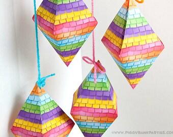 PINATA Favor Box : DIY Printable PDF | Cinco de Mayo Favor | Fiesta Gift Box | Festive Print at Home Digital File - Instant Download