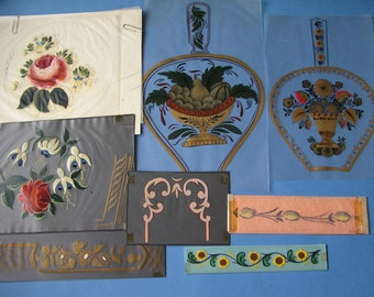 Vintage Tole Paintings Original Art Work On Vellum Collection Of 8 Pieces Cabbage Rose Wood Bellows