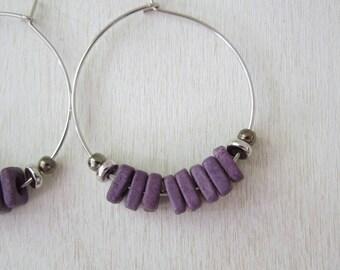 Purple Bead Hoop Earrings - Purple Color Greek Ceramic Washer Beaded Silver Hoop Earrings Silver Earwires