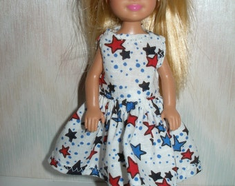 Handmade Chelsea clothes - white with red and blue stars print dress