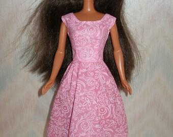Handmade Barbie clothes - pink print dress