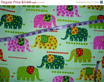 Flannel Elephant Fabric Colorful Flowers Cotton Print
