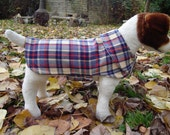 Red Blue and Cream Plaid Wool Dog Coat- Size Small- 12 to 14 Inches Back Length - Or Custom Size