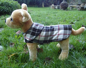 Dog Coat - White Black Red Tartan Dog Coat- Size XX Small- 8 to 10 Inch Back Length - Or Custom Size