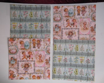 Vintage 1960s 1980s Wrapping Gift Paper 4 Sheets 3 Full 1 Partial Floral Shower Children Hallmark Cards Scrapbooking Art Crafts