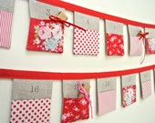 The original Christmas Bunting advent calendar ~ Tilda Red ~ 24 linen flags. Ready to Ship!