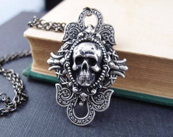 Asmodeus No.2--aged silver brass dragon skull gothic necklace