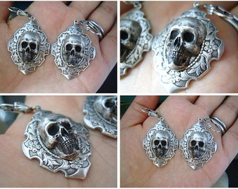 Large sterling silver plated brass skull cameo gothic earrings, E504