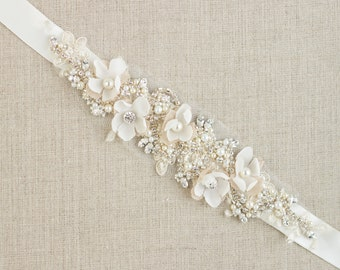 Wedding belt, Bridal belt, Wedding dress belts sashes, Floral belt sash, Flower Floral Bridal belts sashes Lace sash Champagne sashes belts
