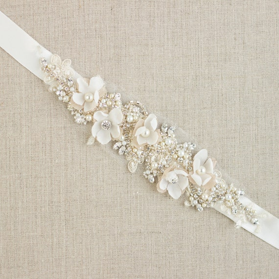 Wedding belt bridal belt wedding dress belts sashes floral for Wedding dress belt sash