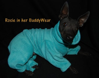 "BuddyWear fleece Romper Jammie outfit for Italian Greyhounds, Hairless Terriers, Cresteds and all small dogs up to 18""."