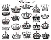 ROYAL CROWNS - Digital Download - Collage Sheet Printable - Antique Crowns--Jpg and Png format