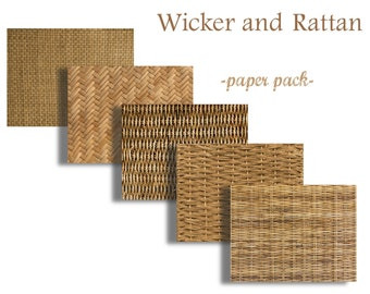 WICKER, RUSH,WILLOW and RaTTAN - Digital Paper Pack - 5 Woven Wicker Papers  -Instant Download Digital Printable Papers  - DiY