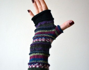 Purple Fingerless Gloves - Knit Fingerless Gloves - Fashion Gloves - Fashion Gloves - Fingerless Gloves - Gift nO 56.