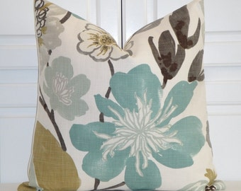 Decorative Pillow Cover - EURO Sham - Square Pillow - Accent Pillow - Teal - Aqua Green - Brown - Tan - Large Floral