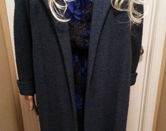 Blue Grey Maxi Coat with Purple Lining