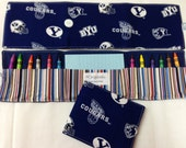 NEW BYU Crayon Tote in a colorful print complete with 12 crayons and a paper pad