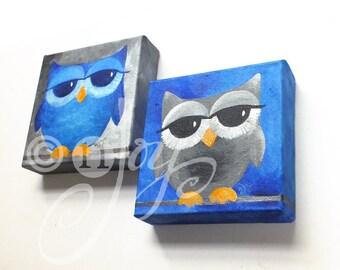 Sleepy Owl Art, Blue & Gray OWLS - Set of 2 6x6x1.5 Acrylic Owl Paintings
