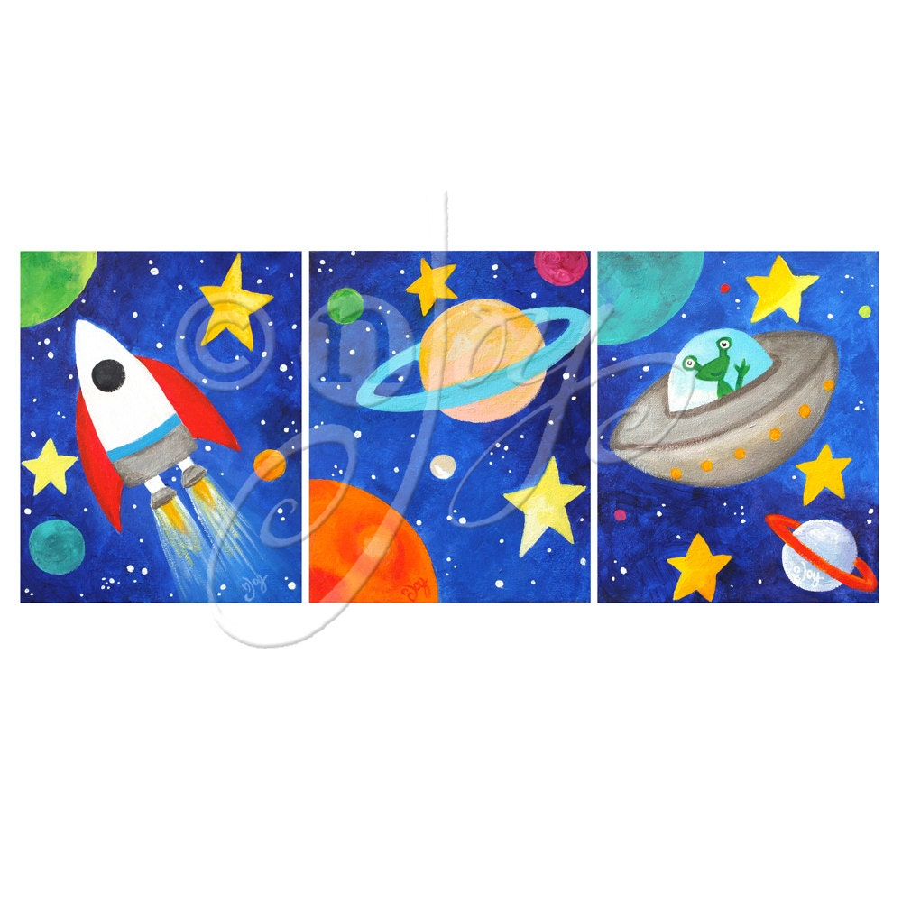 Art for kids 3 blue space themed prints 8x10 inch solar for Kids room canvas