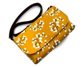 Small Cross Body Purse, Small Messenger Bag, Shoulder Bag, Pocketbook - Pussy Willow on Mustard Cotton - Long Adjustable Strap