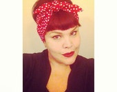 Vintage Inspired Head Scarf, Bow or Bandana Style, Red with Dots, Rockabilly, Retro