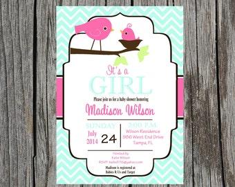 Printed Birdie Baby Shower Invitation, bird baby shower invitation, baby girl shower, nature, birdie
