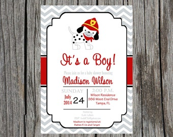Fireman baby shower invitation, dalmatian invitation, firefighter baby shower, baby boy shower, custom and printable