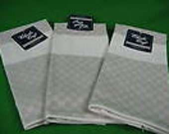 Lot of 3 Charles Craft Cottage Check Cross Stitch Kitchen Towels Putty w/ White