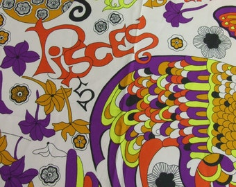 Pisces Fabric Psychedelic 1970 Klopman Mills Silky RARE