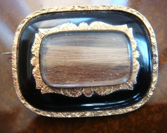 Vintage Antique Sale Mourning Pin with Hair, Gold, and Enamel Civil War Period