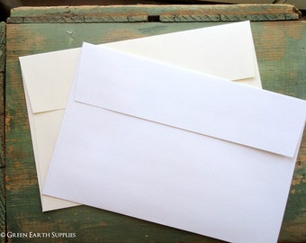"100 A6 White or Ivory Envelopes: 100 Recycled Envelopes, 4 3/4"" x 6 1/2"" (121 x 165 mm), A6 White Envelopes, A6 Ivory Envelopes"