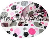 Polka Dots glitter ribbon 5 yards- 7/8 inch grosgrain Valentine's Day US designer ribbon