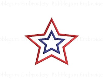 Double Star Applique Embroidery Design Instant Download