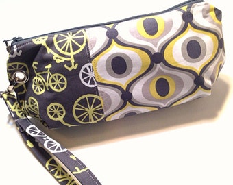 Clutch, Wristlet, Detachable Strap, Gray and Yellow Bicycle Print