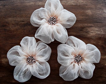 Pale Pink Fabric Flowers Handmade Appliques Embellishments(3 pcs)