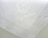 Wedding Handkerchief: White Irish Linen Bridal Handkerchief with 3-Initial Monogram and Wedding Date