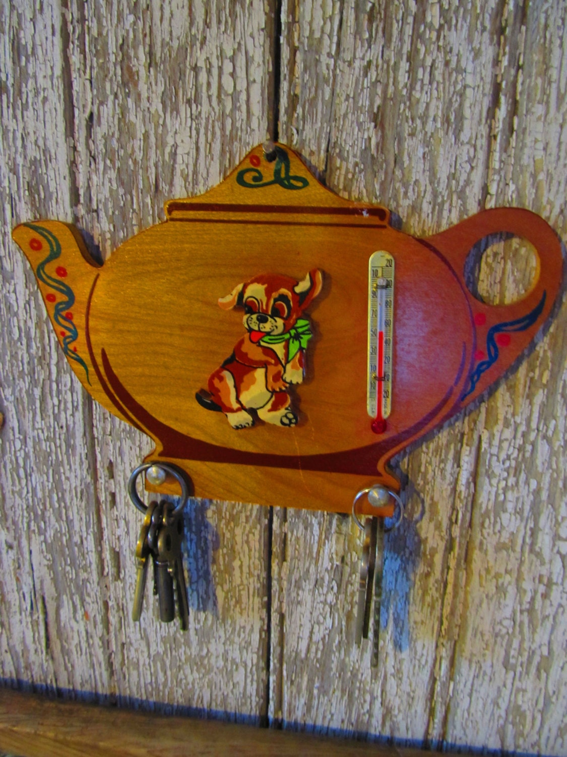 Vintage teapot key holder vintage wall decor by for Mural key holder